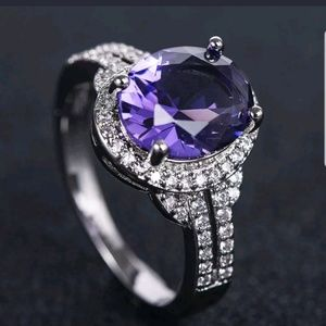 New 925 Silver ring Women Oval Cut purple sapphire